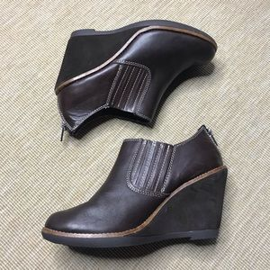Hush Puppies Wedge Heel Shoes Brown Leather 8